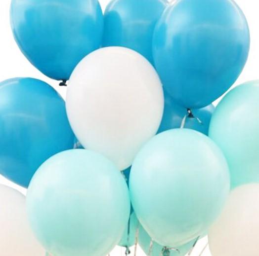 Ассорти морская волна, голубой винтаж, айвори латексных шаров с гелием