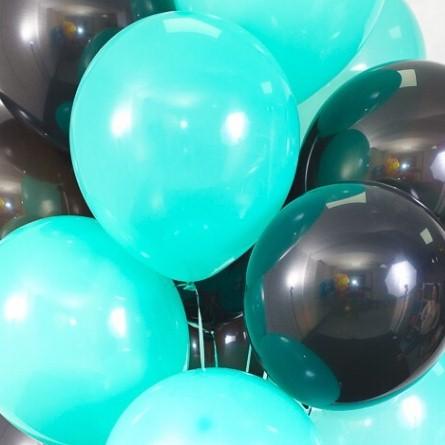 Ассорти мятный и черный латексных шаров с гелием