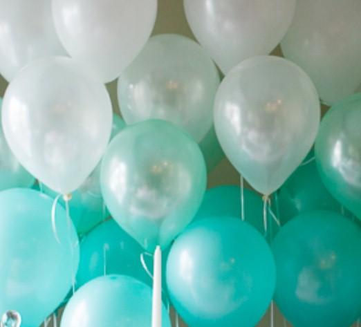 Ассорти мятный, мятный перламутр, белый, белый перламутр латексных шаров с гелием