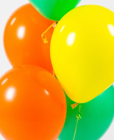 Ассорти желтый, оранжевый, зеленый латексных шаров с гелием
