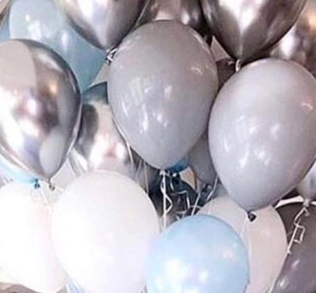 Ассорти белый, голубой, серый, серебро Хром Китай латексных шаров с гелием