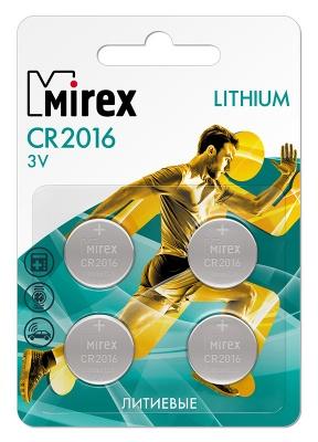 Батарея литиевая Mirex CR2016  3V  4 шт (4/216/648), блистер