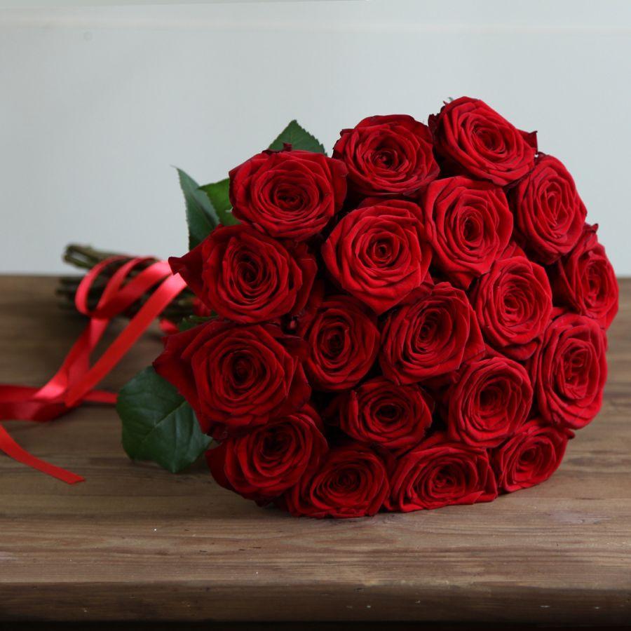 Красные розы 60 см. 19 шт.