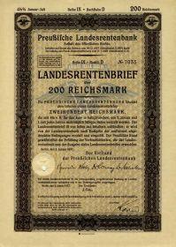 Германия 200 рейхсмарок Ценная бумага Государственное пенсионное письмо 1937-1940. UNC.ПРЕСС Мультилот