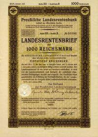 Германия 1000 рейхсмарок Ценная бумага Государственное пенсионное письмо 1937-1940. UNC.ПРЕСС Мультилот