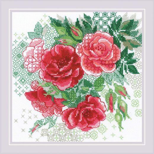 Набор для вышивания крестом Красный шиповник №1916 фирма Риолис