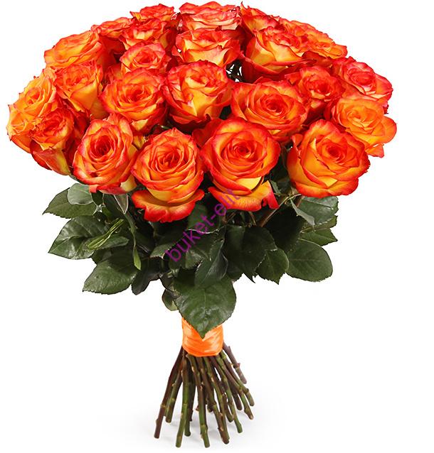 Оранжевые розы 60 см