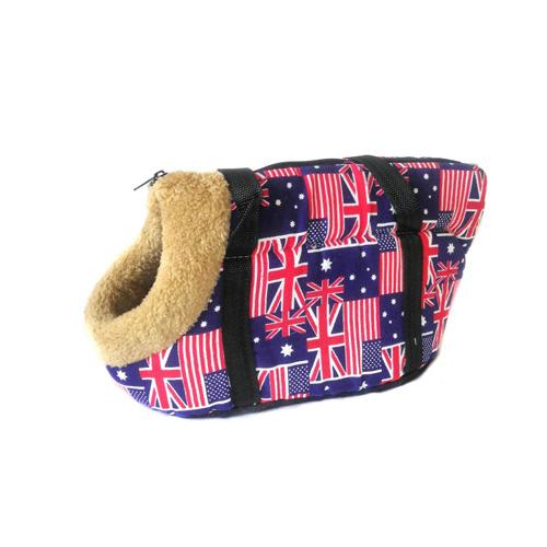 Сумка-переноска для собак с меховой отделкой Британский флаг, Цвет Синий