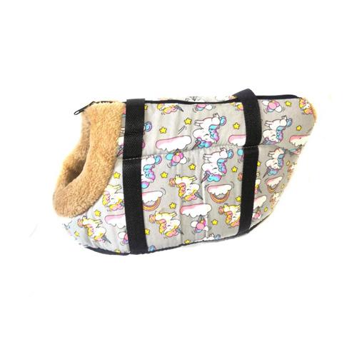 Сумка-переноска для собак с меховой отделкой Единорог