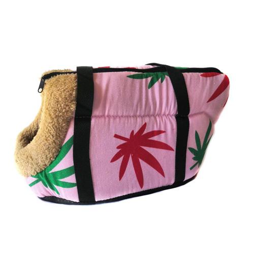 Сумка-переноска для собак с меховой отделкой Листья, Цвет Розовый