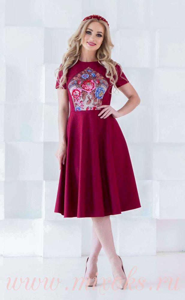 Платье летнее бордовое из платка