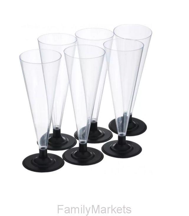 Набор фужеров для шампанского с черной низкой ножкой Конус 150 мл, 6 шт