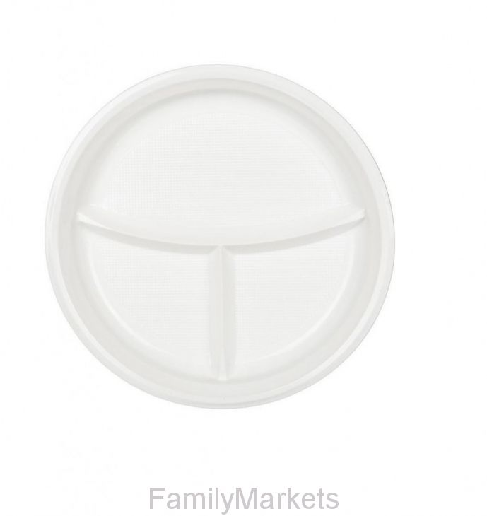 Тарелка одноразовая 3-х секционная А СтП, D=20.5 см, 100 шт