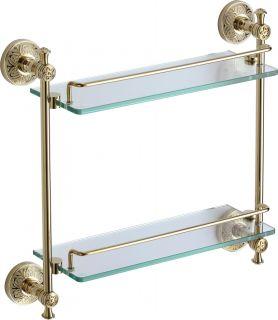 Полка двойная стеклянная 40 см S-005822B Savol золото