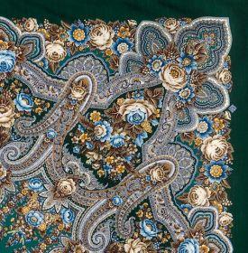 Платок павлопосадский 146*146 см Подарок с ярмарки [09]