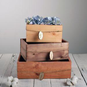 Набор деревянных ящиков 3 в 1 «Самой прекрасной» с шильдиком, 30 х 25 х 20 см