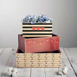 Набор деревянных ящиков 3 в 1 «With love» с печатью, 30 х 25 х 20 см