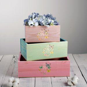 Набор деревянных ящиков 3 в 1 «Весна пришла» с печатью, 30 х 25 х 20 см