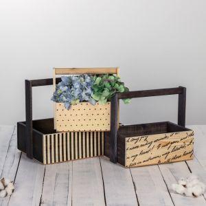 Набор деревянных ящиков 3 в 1  с ручкой «Для тебя» с печатью, 30 х 25 х 20 см