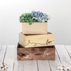 Набор деревянных ящиков 3 в 1 «Нити любви» с печатью, 30 х 25 х 20 см