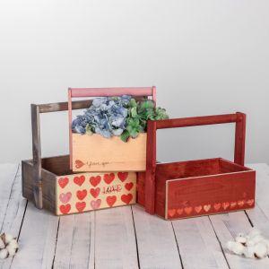 Набор деревянных ящиков 3 в 1  с ручкой «With love» с печатью, 30 х 25 х 20 см
