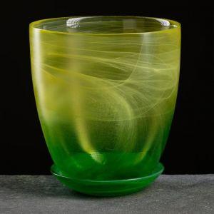 """Горшок цветочный с поддоном """"Гармония"""", жёлто-зелёное 2 л"""
