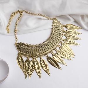 """Колье """"Ажурные перья"""", цвет чернёное золото, L=42 см"""