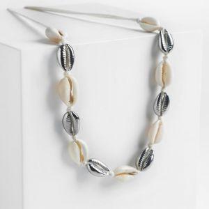 """Колье """"Морская стихия"""" ракушки на белом шнурке, цвет бежевый в серебре, L=60 см"""