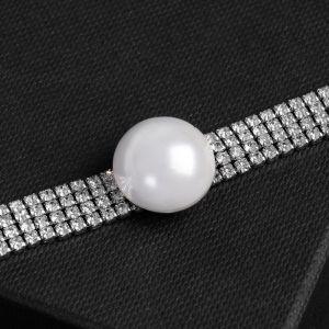"""Колье-чокер """"Симфония"""" жемчужина, цвет белый в серебре, 30 см"""
