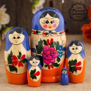 Матрёшка «Семёновская», голубой платок, 5 кукольная, 8-10  см