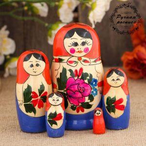 Матрёшка «Семёновская», розовый платок, 5 кукольная, 10 см