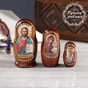 Матрёшка «Православная», 3 кукольная, Спас, Казанская, Николай Чудотворец