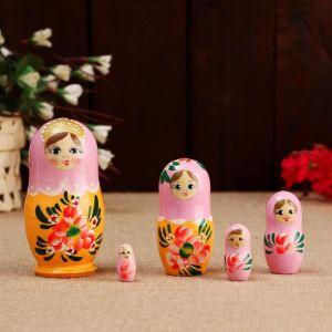 Матрёшка «Розовые цветочки», розовый платок, 5 кукольная, 10 см