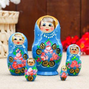 Матрёшка «Розочки», бирюзовое  платье, 5 кукольная, 10 см