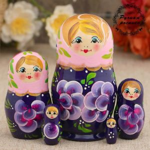Матрёшка «Фиалки», розовый платок, 5 кукольная, 10 см