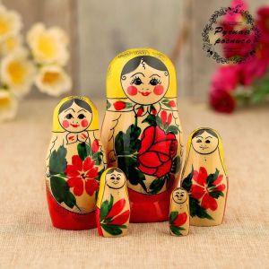 Матрёшка «Семёновская», желтый платок, 5 кукольная, 12 см