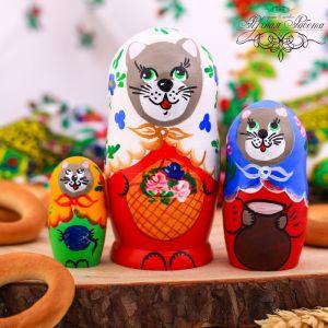 Матрёшка 3-х кукольная «Кошка в сарафане»