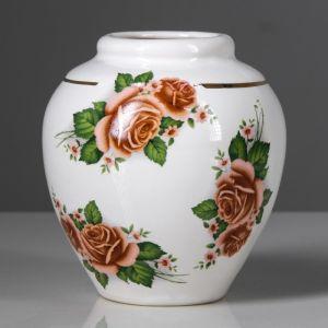 """Ваза настольная """"Шарик"""", деколь, белая, цветы, 13 см, микс, керамика"""