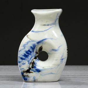 """Ваза настольная """"Плоская"""" мрамор, синяя, 14 см, керамика"""