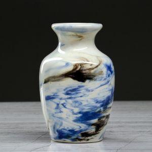 "Ваза настольная ""Дарина"" мрамор, синяя, 13 см, керамика"
