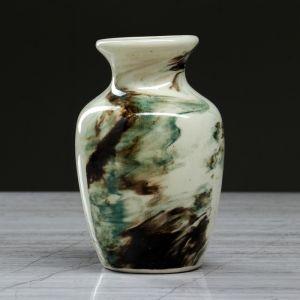 """Ваза настольная """"Дарина"""" мрамор, зелёная, 13 см, керамика"""