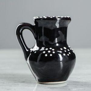 """Ваза настольная """"Кувшин"""", глазурь, цвет черный, 8 см , керамика"""