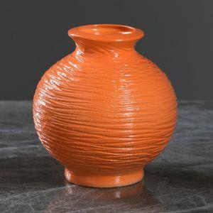 """Ваза настольная """"Шарик"""" оранжевая, 13 см, керамика"""