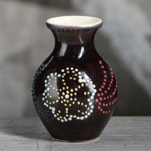 """Ваза настольная """"Крынка"""", глазурь коричневая, 11 см , керамика"""
