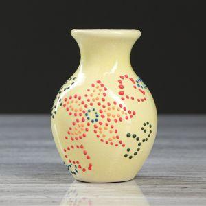 """Ваза настольная """"Крынка"""", глазурь, жёлтый цвет, 11 см, микс, керамика"""