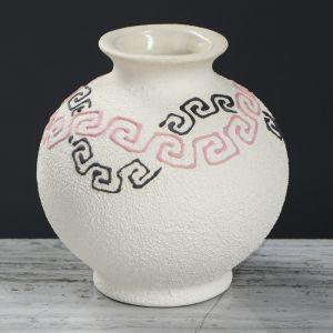 """Ваза настольная """"Шар"""", греческий узор, белая, 12 см, микс , керамика"""