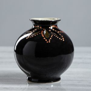 """Ваза настольная """"Шар"""", глазурь, цвет черный, 12 см , керамика"""