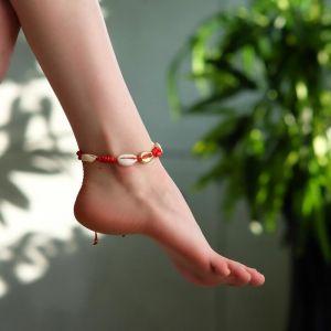 """Браслет на ногу """"Ракушки"""" с бусинами, цвет бело-красный, L=11см"""