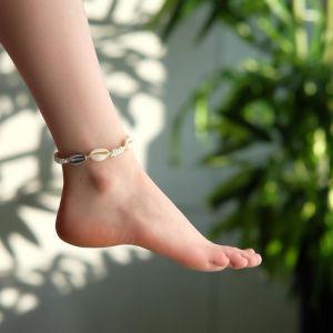 """Браслет на ногу """"Ракушки"""" с бусинами, цвет белый, L=11см"""