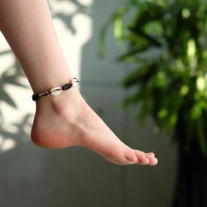 """Браслет на ногу """"Ракушки"""" с бусинами, цвет бело-чёрный, L=11см"""